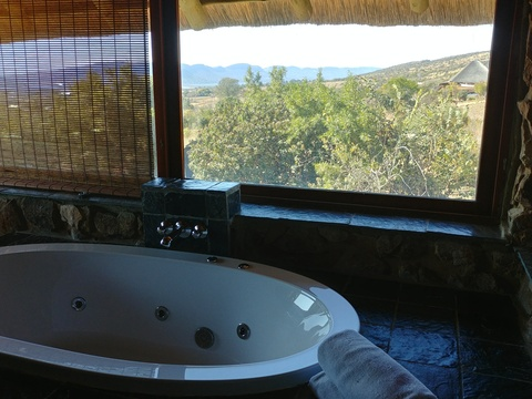 Stone Lodge at Sky Lodge, superior en-suite bathroom with a view to die for!